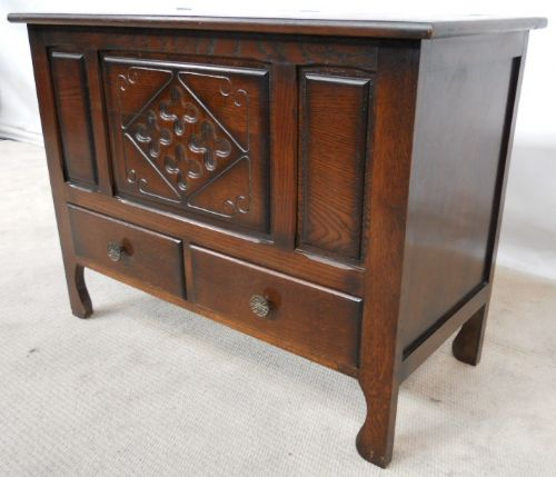 Antique Jacobean Style Dark Wood Blanket Box Coffer - SOLD